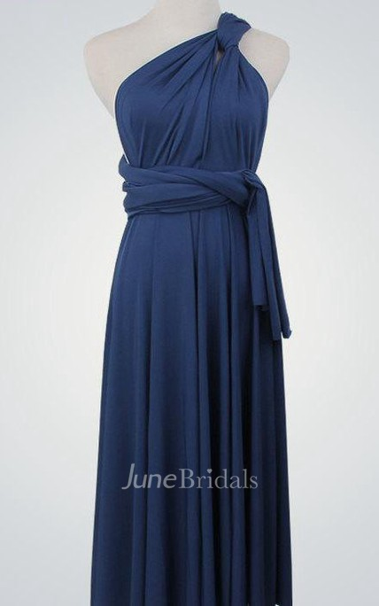 One Shoulder Straped Back Convertible Bridesmaid Dress