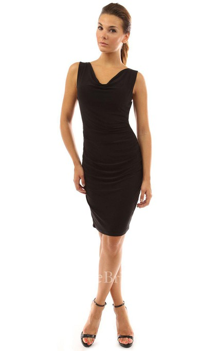 Sleeveless V-neck Knee-length Ruched Chiffon Dress