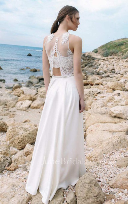 Halter Chiffon Satin Lace Wedding Dress - June Bridals
