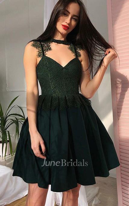 8534cbe4256 A-line High Neck V-neck Sleeveless Lace Pleats Ruching Short Mini Chiffon Lace  Homecoming Dress - June Bridals
