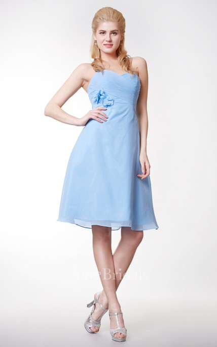 ffb12a27ab4 Sexy Sweetheart Floral Chiffon Short Dress Crisscross With Bodice - June  Bridals