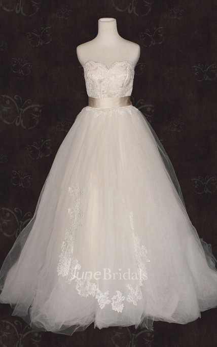 Sweetheart Empire Backless Long Tulle Wedding Dress With Sash And Flower