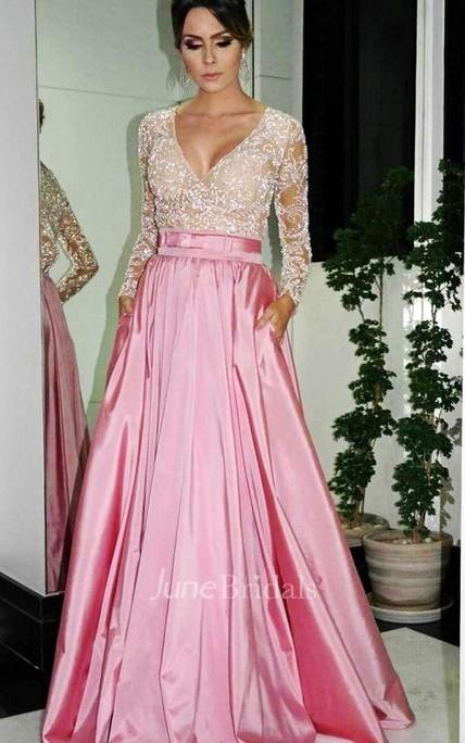 46bb82f089f6 Elegant A-Line V-neck Prom Dresses Long Sleeve Evening Dresses With  Beadings - June Bridals
