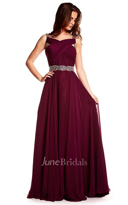 Maxi Beaded Sleeveless Strapped Chiffon Prom Dress
