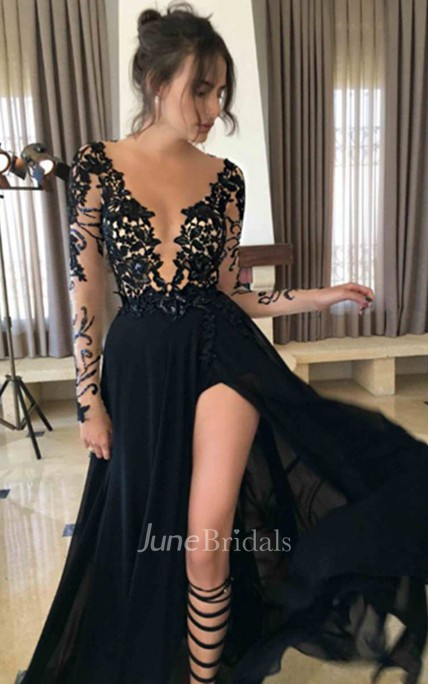 Illusion Sleeve Deep V Neck A-line Chiffon Gown With Slip Front
