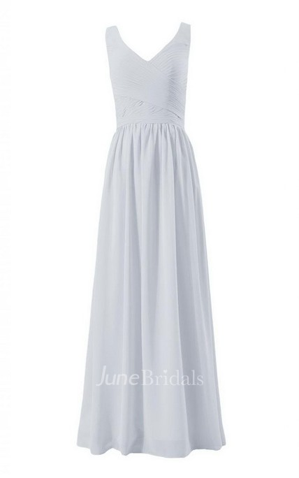 Sleeveless V-neck Long Chiffon Dress With Ruching