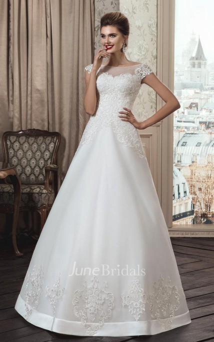 b8bfe75986c24 A-Line Strapped Tulle Lace Weddig Dress With Illusion - June Bridals
