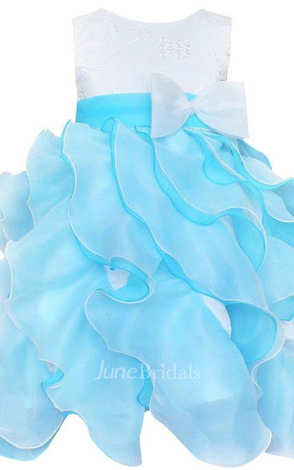 Sleeveless A-line Ruffled Dress With Bow and Appliques