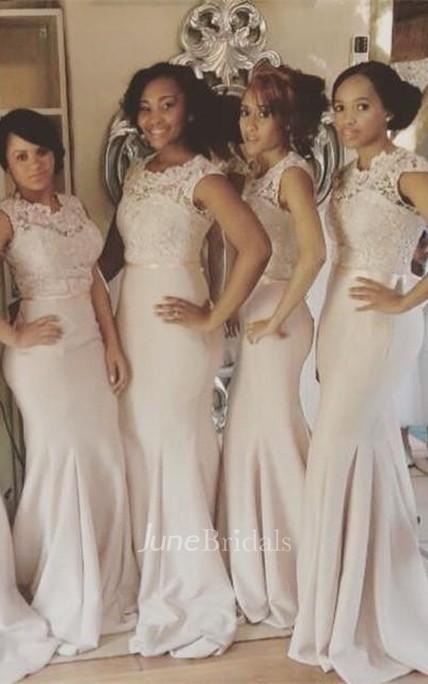 dbd4c2f0e42 Newest Lace Mermaid Illusion Bridesmaid Dress 2018 Cap Sleeve - June Bridals