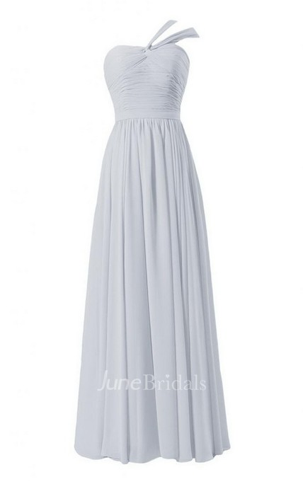 One-shoulder Long Chiffon Gown With Ruched Bodice