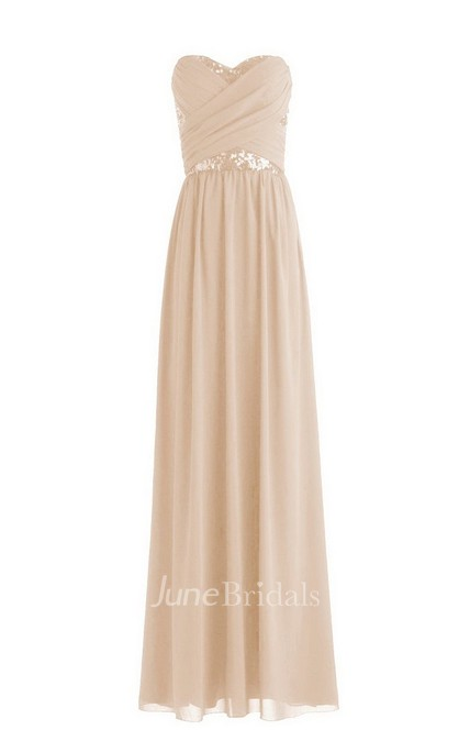 Sweetheart Pleated Chiffon Dress With Sequins