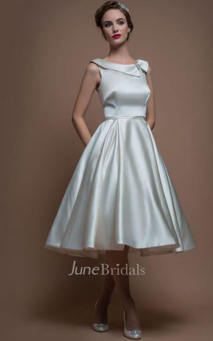 A Line Sleeveless Tea Length Bateau Neck Satin Wedding Dress With