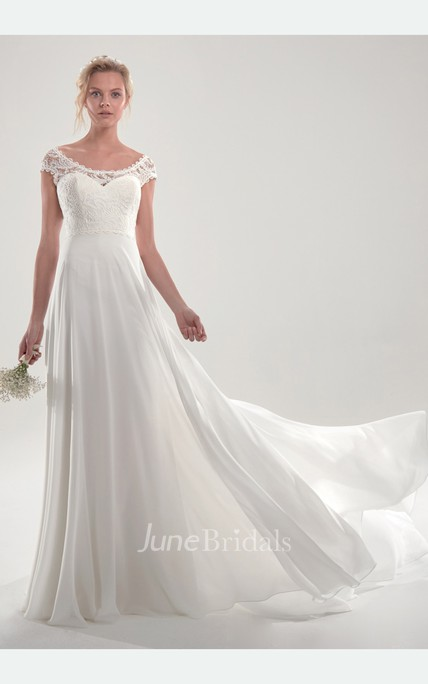 Graceful Short Sleeve Chapel Train Bridal Gown With Open Back