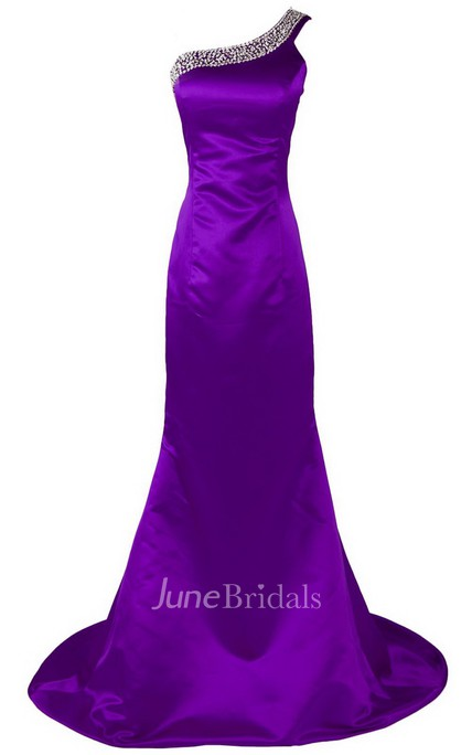 One-shoulder Long Satin Dress With Beaded Neckline