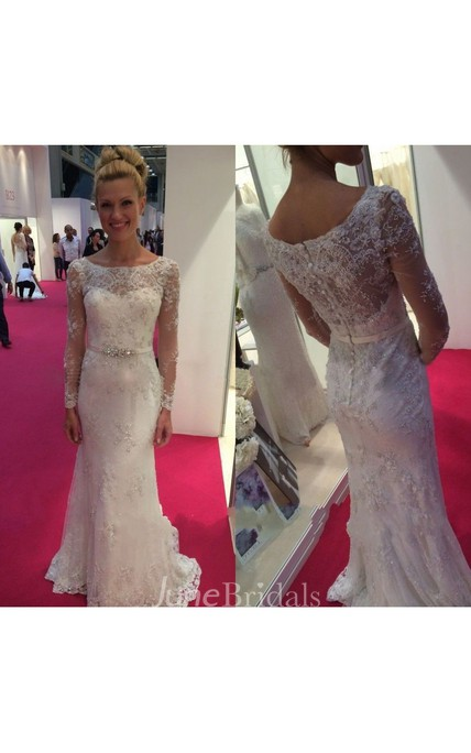 Long Sleeve Bateau Neckline From-fitted Long Lace Dress With Crystal Belt
