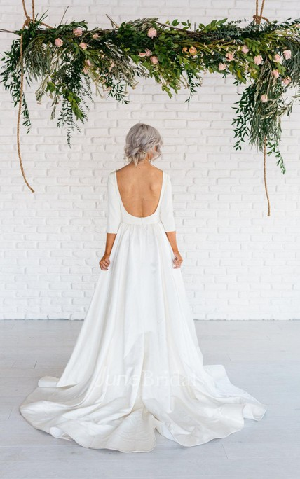 Long sleeved wedding gowns bridals dress with sleeves june bridals modern simple long sleeve a line satin wedding dress with open back junglespirit Choice Image