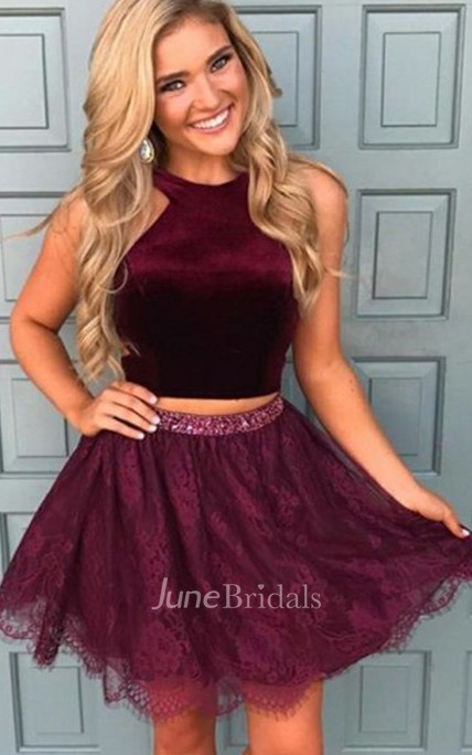 Two Piece Halter Sleeveless Beading Pleats Ruching Short Mini Lace Homecoming Dress