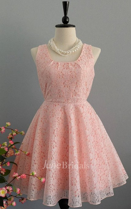 Short A-line Lace Dress With Bow