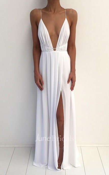 Sexy V-neck Spaghetti Strap Prom Dress With Front Split