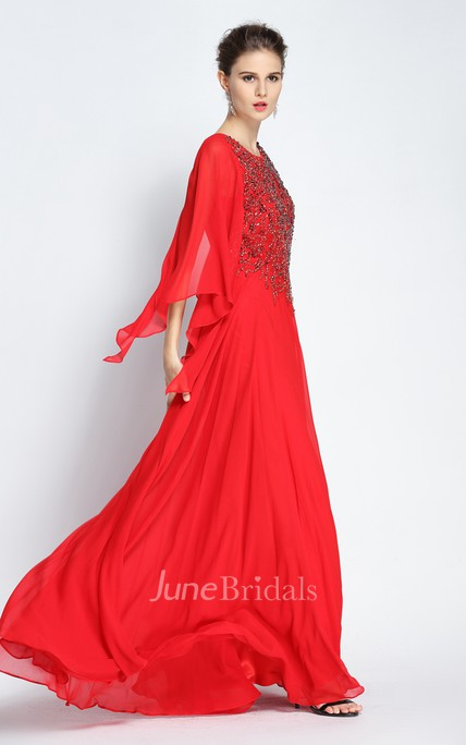 A-Line Jewel Bat Long Sleeve Floor-length Chiffon Prom Dress with Beading and Low-V Back