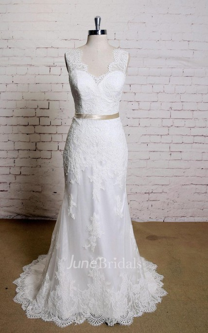V-Neck Sleeveless Lace Mermaid Wedding Dress With Satin Sash