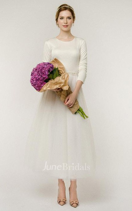 A-Line Long Sleeve Tulle Button Wedding Dress