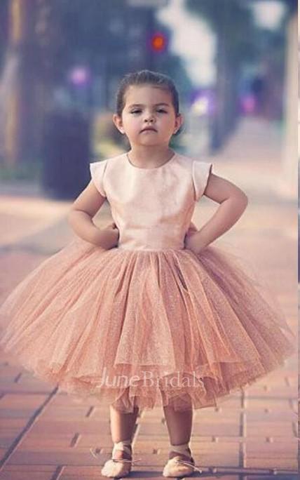 6eefbd8c9ab07 Lovely Cap Sleeve Tulle Princess Flower Girl Dress Bowknot