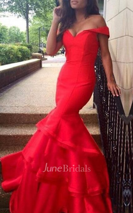 Sexy Red Mermaid 2018 Prom Dress Off the Shoulder With Ruffles
