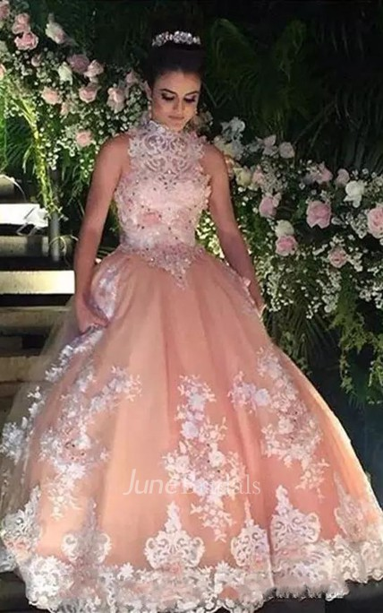 Ball Gown High Neck Sleeveless Floor-length Lace Tulle Prom Dress with Appliques and Beading