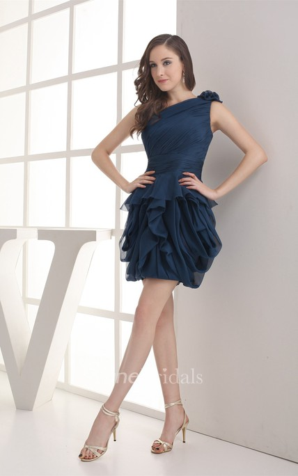 One-Shoulder Chiffon Ruffled Mini Dress with Peplum