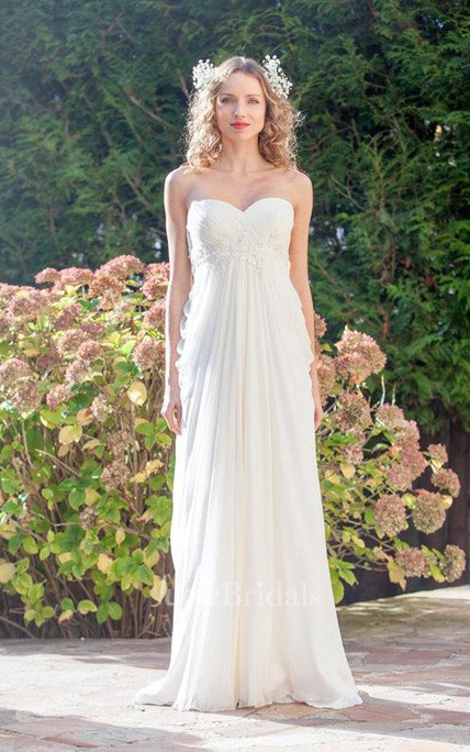 3f4cba51 Sweetheart Empire Backless Sheath Floor-Length Chiffon Wedding Dress - June  Bridals