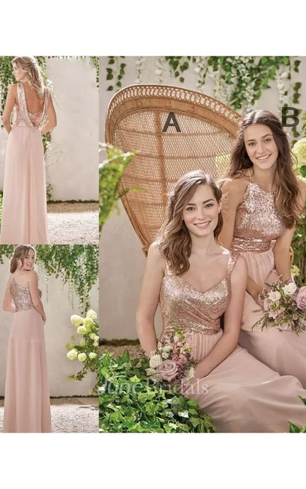 bcea0cf289 A-line Halter V-neck Sleeveless Floor-length Chiffon Sequins Bridesmaid  Dress with Ruching - June Bridals