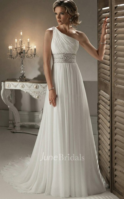 Modern One-shoulder Chiffon Gown With Beaded Wasitband