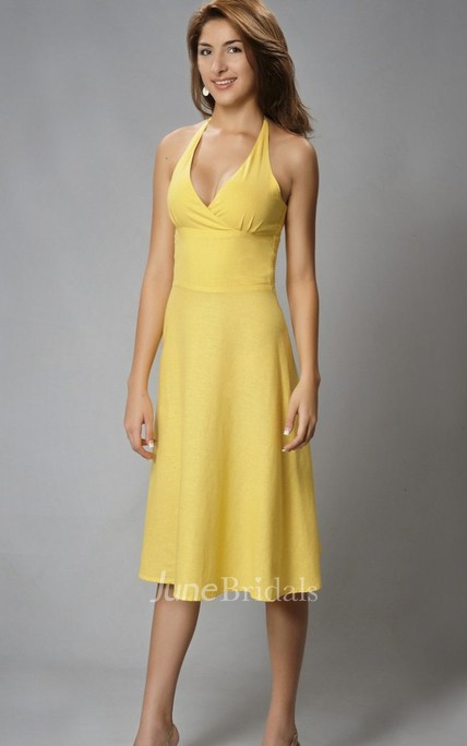 Sheath Sexy V-neck Chiffon Open Back Knee-length Dress With Ruching And Straps