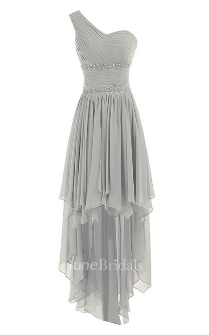 b9db02d284 One-shoulder Asymmetrical Chiffon Dress With Sequins - June Bridals