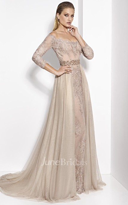 A-Line 3-4-Sleeve Appliqued Floor-Length Off-The-Shoulder Tulle&Lace Prom Dress With Waist Jewellery