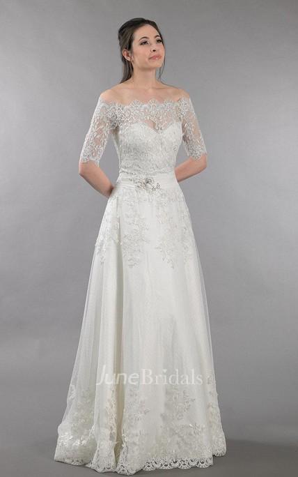Lace Wedding Dress With Off Shoulder Bolero Alencon Lace - June Bridals