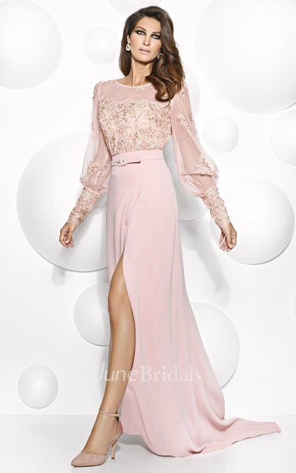 e0fe43588ea80 Maxi Puff-Sleeve Scoop-Neck Appliqued Jersey Mother Of The Bride Dress With  Split Front - June Bridals