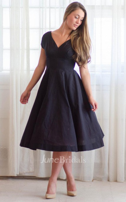 Casual V-neck Tea-length Short Sleeve Dress