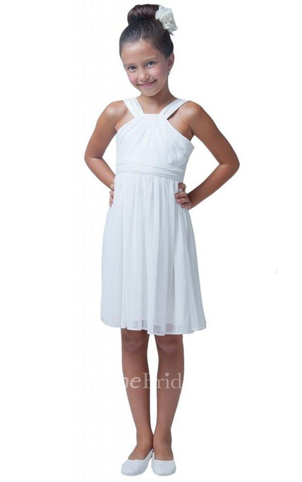 Sleeveless A-line Pleated Dress With Straps