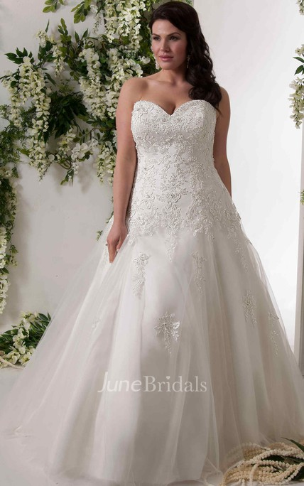 A-Line Sweetheart Lace&Tulle Plus Size Wedding Dress With Lace Up