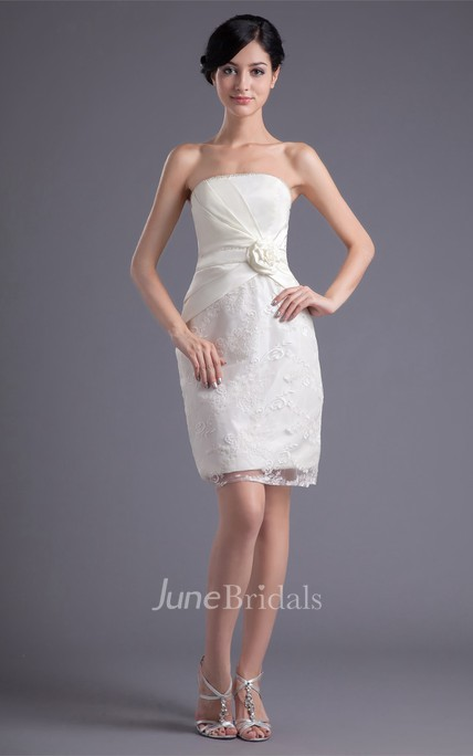 Strapless Body Fitting Short Lace Dress With Flower June