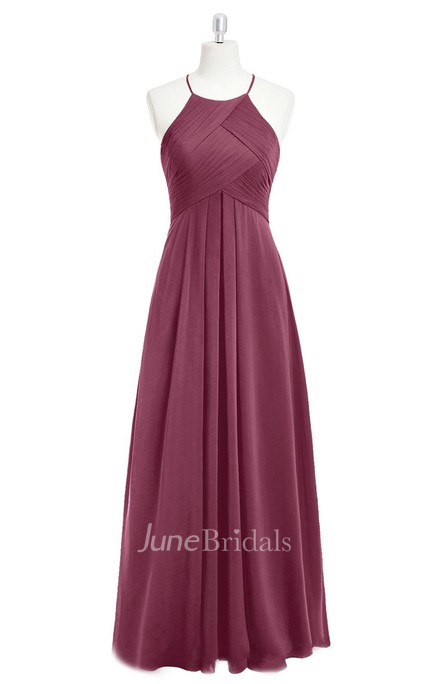 Ruched and Pleated A-Line Long Chiffon Sleeveless Dress With Halter