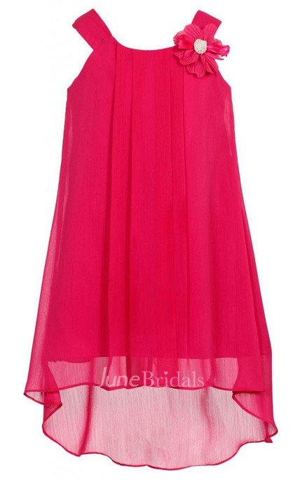 Sleeveless A-line High-low Pleated Dress With Flower and Straps