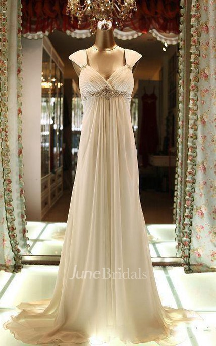 Floor-Length Cap Beading Zipper Corset Back Chiffon Lace Dress