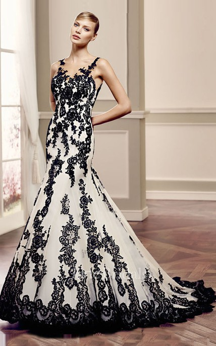 67d4896391 Mermaid Floor-Length Bateau Appliqued Sleeveless Lace Wedding Dress With  Illusion Back And Court Train - June Bridals