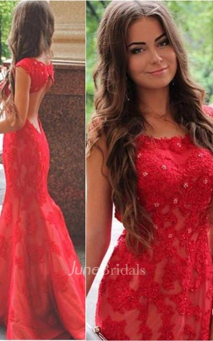 c25b5b9e470 Sexy Red Lace Appliques Mermaid Evening Dress 2018 Sweep Train Jewel - June  Bridals