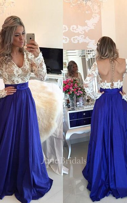 Modern Lace Chiffon Long Sleev Prom Dress Zipper Button Back