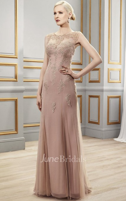Sleeveless Appliqued Scoop Neck Tulle Formal Dress With Illusion Back