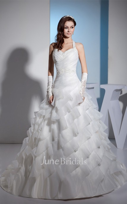 Ruched Sweetheart Tiered Ball Gown with Appliques and Beaded Halter